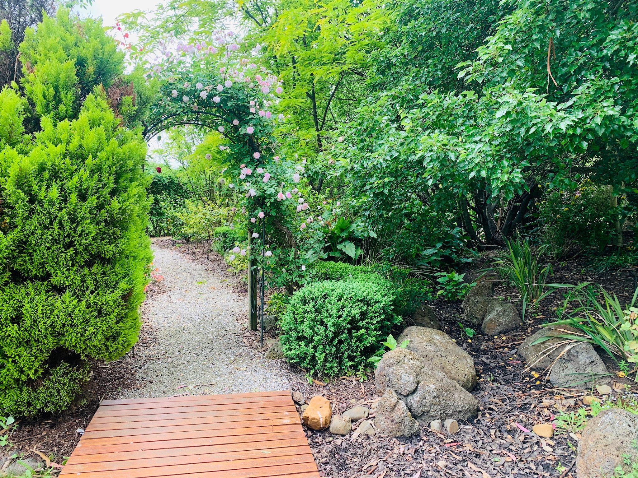 Garden path with creeping rose arbor. Adalong Park, holiday rental Moorooduc.