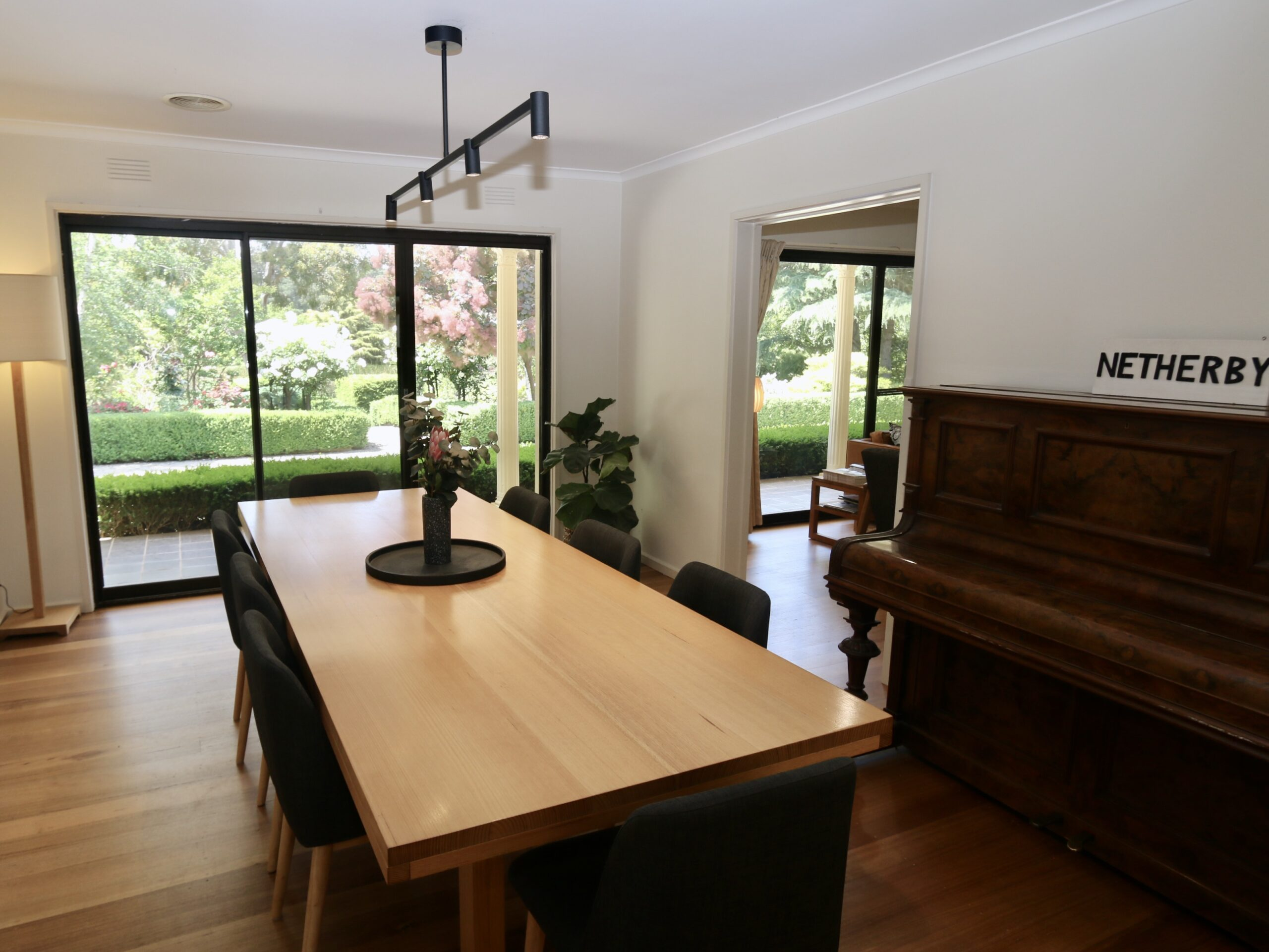 8 seater Dining table with views over the garden. Moorooduc holiday rental
