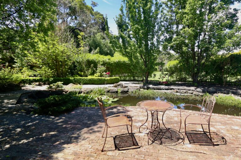 Japanese pond with seating area. Moorooduc holiday rental
