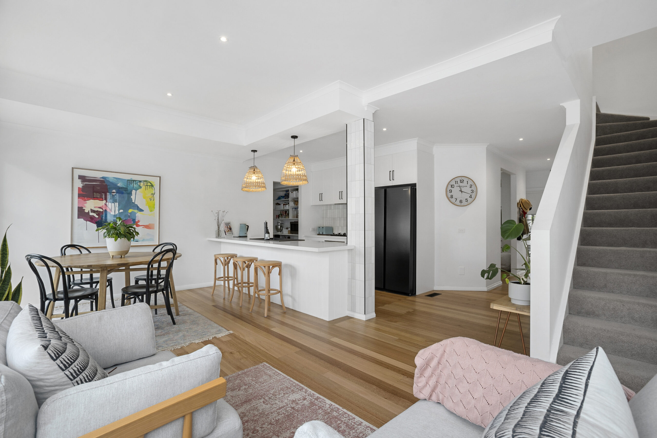 kitchen, living and dining zones. The Grove, Mt Martha holiday rental